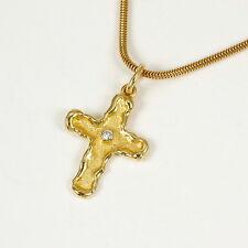 Kreuz im finnischen Stil mit Brillant 0,02 Carat, 585 Gelbgold; Größe 25 mm