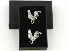 Cockerel Chicken Cock Rooster Fine English Pewter Cufflinks Gift Mens Boxed