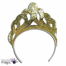 *Princess Queen Large Gold Sequin Tiara Crown Fairy Tale Fancy Dress Accessory*