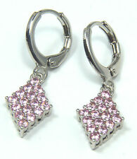 Women's 18 carat White Gold plated Pink crystal huggie dangle earrings Jewellery
