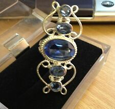 Womens Silver Blue Topaz Cocktail Ring Size 7