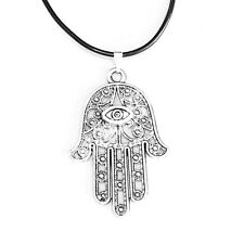 Hamsa Symbol Evil Eye Hand Charm Pendant Black Rubber Necklace