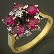 Showy RUBY & DIAMOND 14ct GOLD DRESS RING solid yellow cocktail cluster O1/2