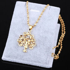 New Fashion Jewelry 24K gold Yellow Filled plated Necklace Tree Pendant Chain
