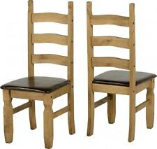 Corona Mexican Chair Pair Distressed Waxed Pine/Expresso Brown PU
