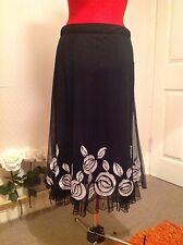 Stunning Wallis black & silver applique net skirt, 10, 38 vgc, evening, party,