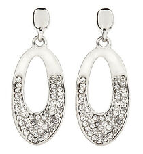 CLIP ON EARRINGS - silver drop earring with clear crystals - Cathy S
