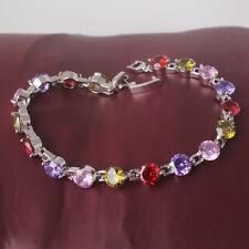 """18k white gold filled colorful stones attractive Exclusive bracelet 7.5""""13.9g"""