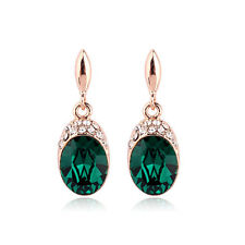 18CT Rose Gold Plated Genuine Swarovski Crystal Dark Emerald Gem Stud Earrings