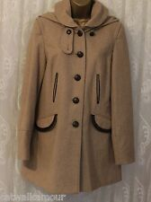 ASOS Wool Blend Pocket Flap Detachable Faux Shearling Hooded Coat Camel  10 38