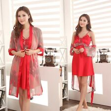 New Women's Silk Satin 2 pcs Sleepwear Bath Robes Nightdress Nightie Pajamas