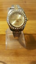 "Avon ""lets talk"" ladies quartz watch silver/gold tone stone set bezel #169"