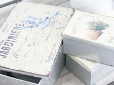 3 VINTAGE ANTIQUE FRENCH CHIC JEWELLERY GARDEN SEEDS SEWING BOX TIN CHRISTMAS
