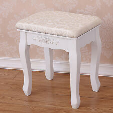 Vintage Stool Dressing Table Piano Chair White Decor Padded Makeup Seat baroque