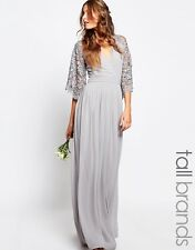 Maya Tall Wrap Front Pleated Evening Maxi Long Dress With Lace Sleeve 14 42 Grey