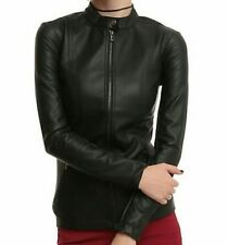 Joan Jett Black Hi Collar Pleather Jacket Daang Goodman/Tripp NYC Size L NWT