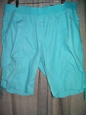 Autograph Turquoise Lace side Casual summer cotton DRILL shorts size 22 NEW