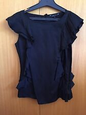 NWOT CUE Black Round Neck Sleeveless Blouse With Frill detail S M 8