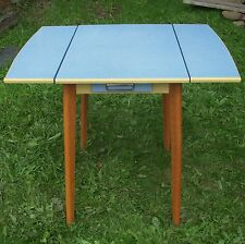 Vintage/Retro Wooden Kitchen Drop Leaf Table Blue Formica With Top Drawer 1950s