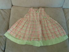 Baby Girls 3-6 months - Lime Green & Pink Checked Sleeveless Summer Dress