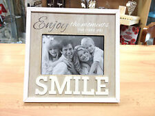 'Enjoy the moments that make you smile' Wooden Shabby Chic photo frame LS