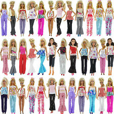 Lot 10pcs = 5 Blouse & 5 Trousers Fashion Casual Clothes Outfits For Barbie Doll