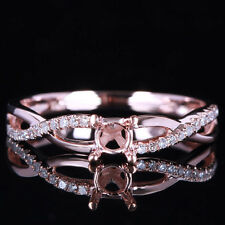 Noble Ladies Wedding 10K Rose Gold Round Semi Mount Diamonds Twisted Fine Ring
