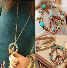 Jewelry Pendant Crystal Long Chain Necklace Vintage Peace Sign Bronze Gift