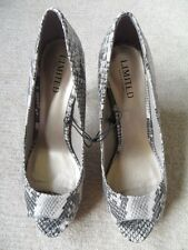 EX M&S PINK GREY SNAKESKIN PRINT FAUX LEATHER HIGH SLIM HEEL COURT SHOES SZE 6.5