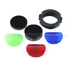 25°+45° 68mm Honeycomb Grid+3 Color Filter Kit for Snoot Flash Softbox Diffuser