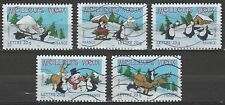France 3162-66 Holiday Greetings Penguins & Polar Bear 5 USED Stamps Issued 2005