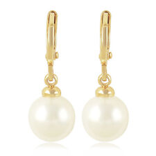 Womens Noble 9K Solid Gold Filled Pearl Drop Dangle Earrings Free Shipping