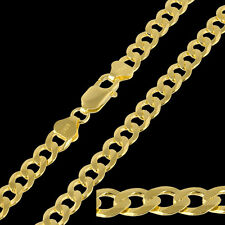 Italy 18ct Gold Plated Sterling Silver Curb 7mm Men Chain Necklace 18 Inch 22.4g