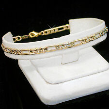 "9"" Ladies 4mm FIGARO Link 14k Gold Layered Anklet + LIFETIME GUARANTEE ~ NEW"