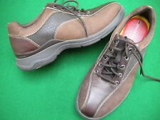 LADIES NEAR NEW ROCKPORT BROWN  LEATHER/ SUEDE LOOK LACE UP FLAT SHOES SIZE 6W