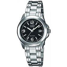 Casio Damenuhr LTP-1259PD-1A Armbanduhr Edelstahl Silber Schwarz Datum NEU & OVP