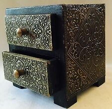 Indian Hand Made Carved Wood Wooden Box Cabinet Holder Jewellery Box Brass Work