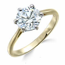 Two carat diamond ring - Yellow Gold 9k with natural solitaire 2.00 carat