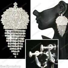 """BIG SPARKLY CLIPS clip on 3""""long chandelier earrings CRYSTAL silver rhinestone"""