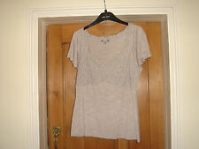 brand new per una grey stretch top marks and spencer lace stretch