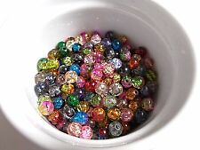 160pcs 8mm 100g Glass Crackle Round Beads - ASSORTED COLORS / MIXED