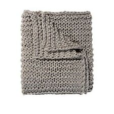 Chain Knit Throw Grey  150cm x 125cm Charcoal Chain Knitted Blanket Rug NEW
