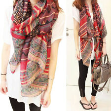 Lady Women's Fashion Long Big Soft Cotton Voile Scarf Shawl Wrap Red GN