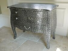 Black Silver Embossed Metal Furniture Low 3 Drawer Chest