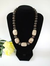 Brown River Bed Jasper Gemstone & Black Marble Necklace Chunky Free P&P