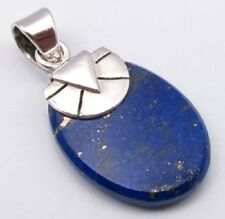 925 Solid Sterling Silver Lapis Lazuli Gemstone Drop Pendant