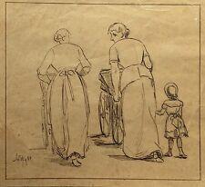 ALBERT HARTVIG (1850-1905) - FRAUEN MIT KINDERWAGEN - GRÜNDERZEIT - 1880