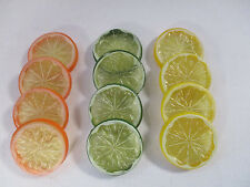 Artificial Fruit Slices Orange Lemon Lime 12 slices, 4 of each Decoration