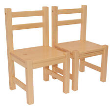 Children's Pine Wood Furniture Set of 2 Chairs Natural Varnished