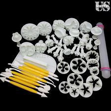 46pcs Fondant Cake Cutter Plunger Cookie Mold Sugarcraft Flower Decorating Mould